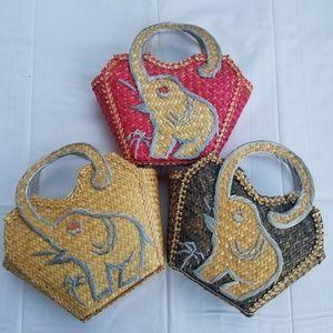 Set of 3 Straw Elephant Bags